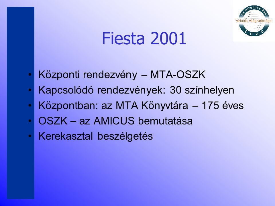 Fiesta 2001 •Központi rendezvény – MTA-OSZK •Kapcsolódó rendezvények: 30 színhelyen •Központban: az MTA Könyvtára – 175 éves •OSZK – az AMICUS bemutat