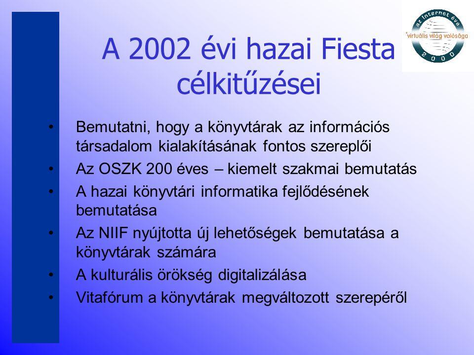A 2002 évi hazai Fiesta célkitűzései •Bemutatni, hogy a könyvtárak az információs társadalom kialakításának fontos szereplői •Az OSZK 200 éves – kieme
