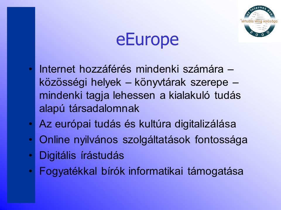 eEurope •Internet hozzáférés mindenki számára – közösségi helyek – könyvtárak szerepe – mindenki tagja lehessen a kialakuló tudás alapú társadalomnak