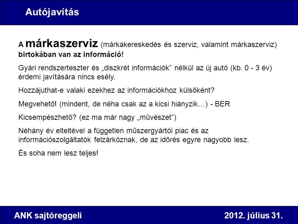 ANK sajtóreggeli 2012. július 31. A márkaszerviz (márkakereskedés és szerviz, valamint márkaszerviz) birtokában van az információ! Gyári rendszerteszt