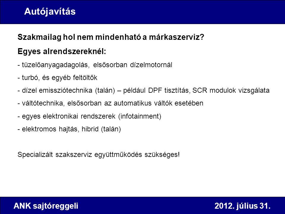 ANK sajtóreggeli 2012. július 31. Szakmailag hol nem mindenható a márkaszerviz? Egyes alrendszereknél: - tüzelőanyagadagolás, elsősorban dízelmotornál