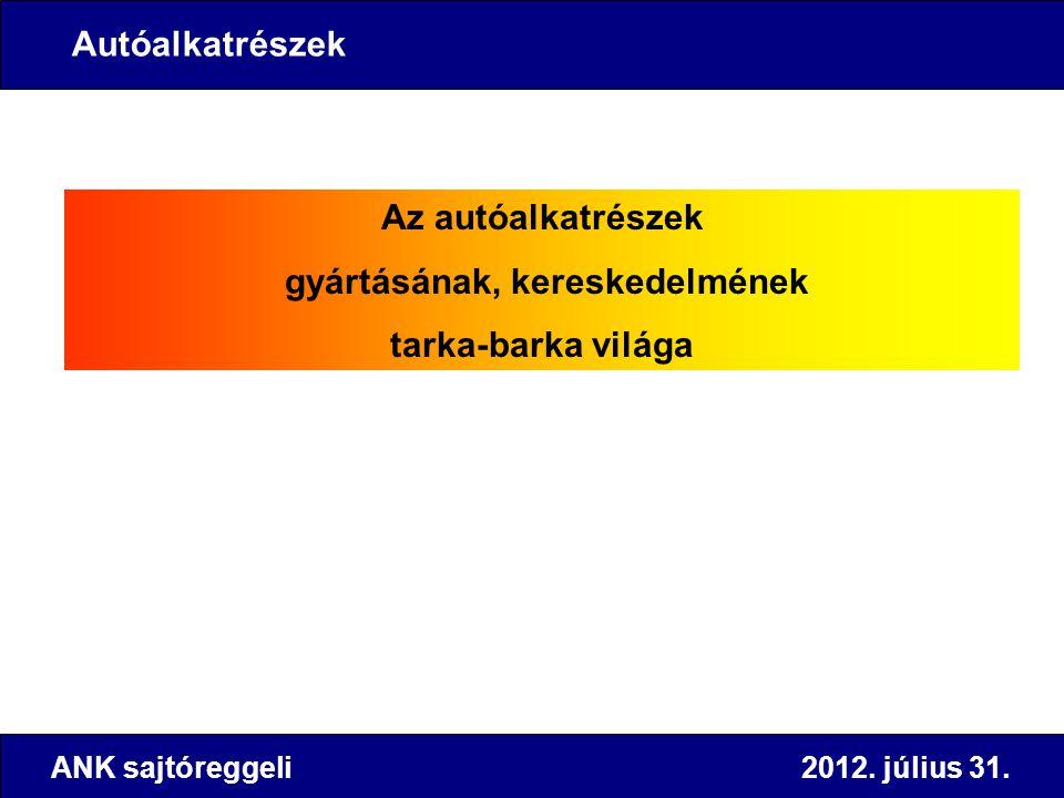 Az autóalkatrészek gyártásának, kereskedelmének tarka-barka világa ANK sajtóreggeli 2012. július 31. Autóalkatrészek