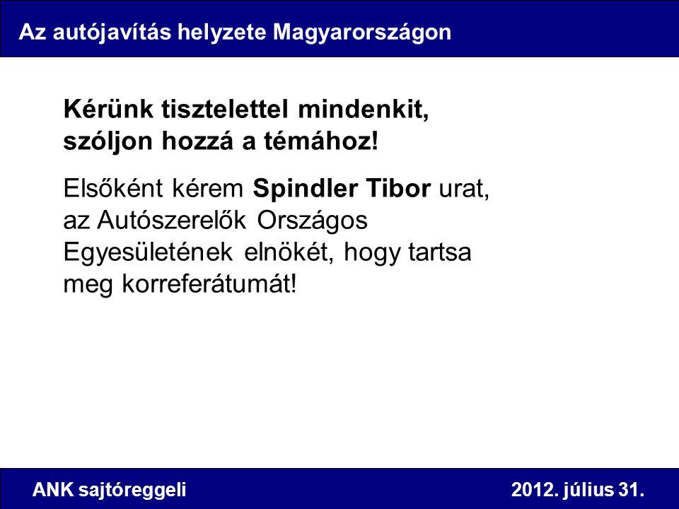 Az autójavítás helyzete Magyarországon Kérünk tisztelettel mindenkit, szóljon hozzá a témához! Elsőként kérem Spindler Tibor urat, az Autószerelők Ors