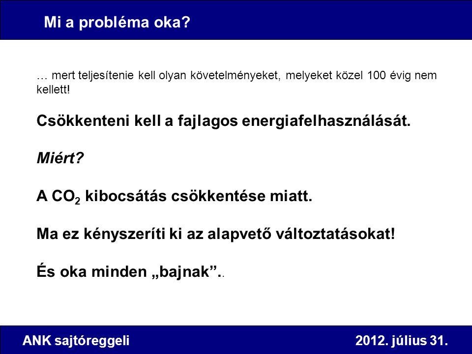 ANK sajtóreggeli 2012. július 31. Mi a probléma oka? … mert teljesítenie kell olyan követelményeket, melyeket közel 100 évig nem kellett! Csökkenteni