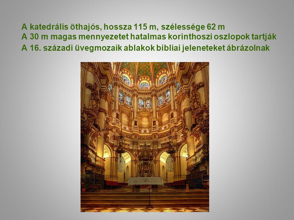 A katedrális öthajós, hossza 115 m, szélessége 62 m A 30 m magas mennyezetet hatalmas korinthoszi oszlopok tartják A 16. századi üvegmozaik ablakok bi