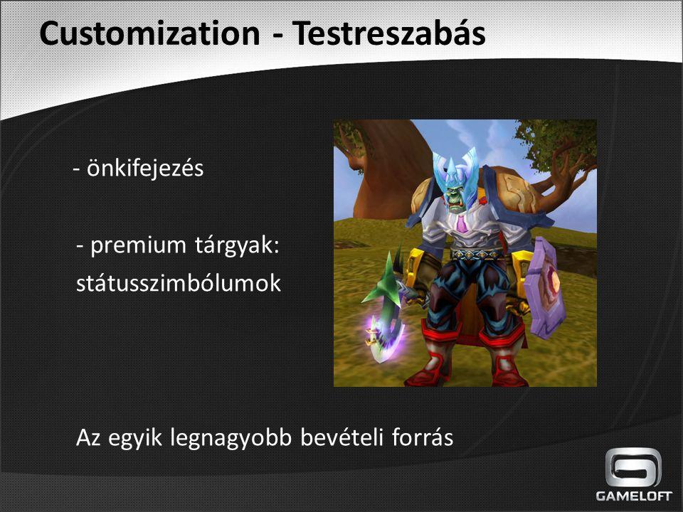 Customization - Testreszabás - önkifejezés - premium tárgyak: státusszimbólumok Az egyik legnagyobb bevételi forrás