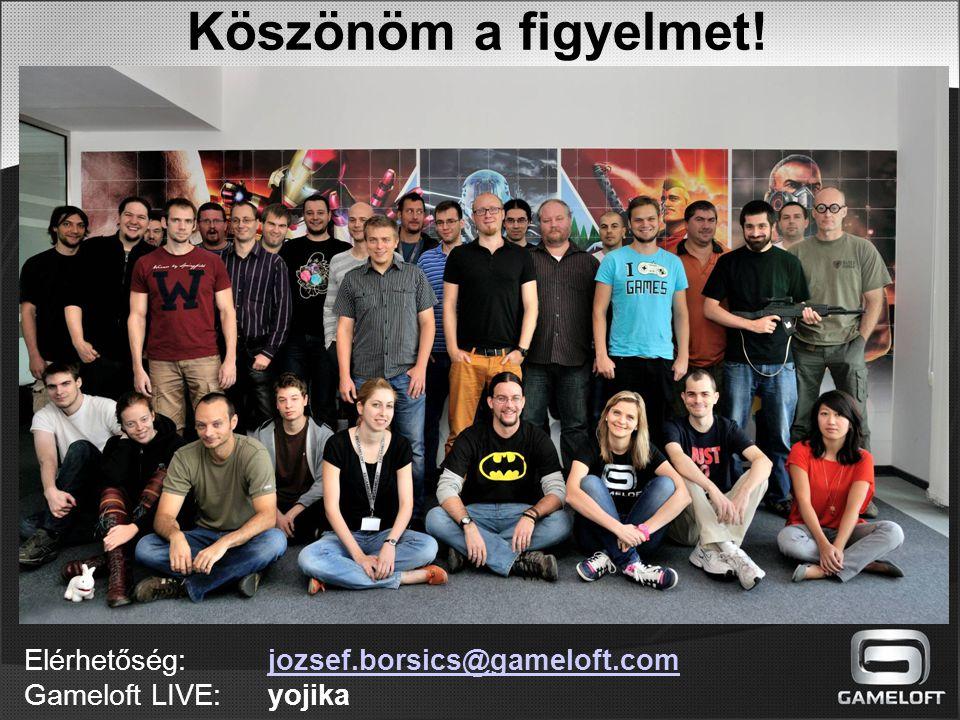 Köszönöm a figyelmet! Elérhetőség: jozsef.borsics@gameloft.comjozsef.borsics@gameloft.com Gameloft LIVE: yojika