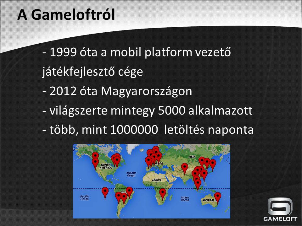 A Gameloftról - 1999 óta a mobil platform vezető játékfejlesztő cége - 2012 óta Magyarországon - világszerte mintegy 5000 alkalmazott - több, mint 100