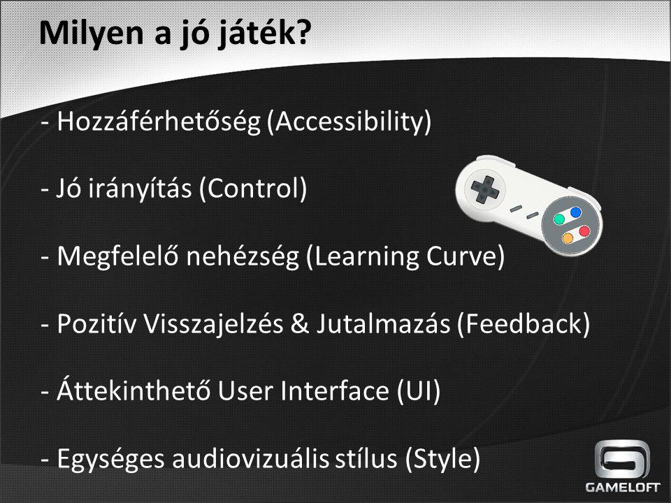 Milyen a jó játék? - Hozzáférhetőség (Accessibility) - Jó irányítás (Control) - Megfelelő nehézség (Learning Curve) - Pozitív Visszajelzés & Jutalmazá