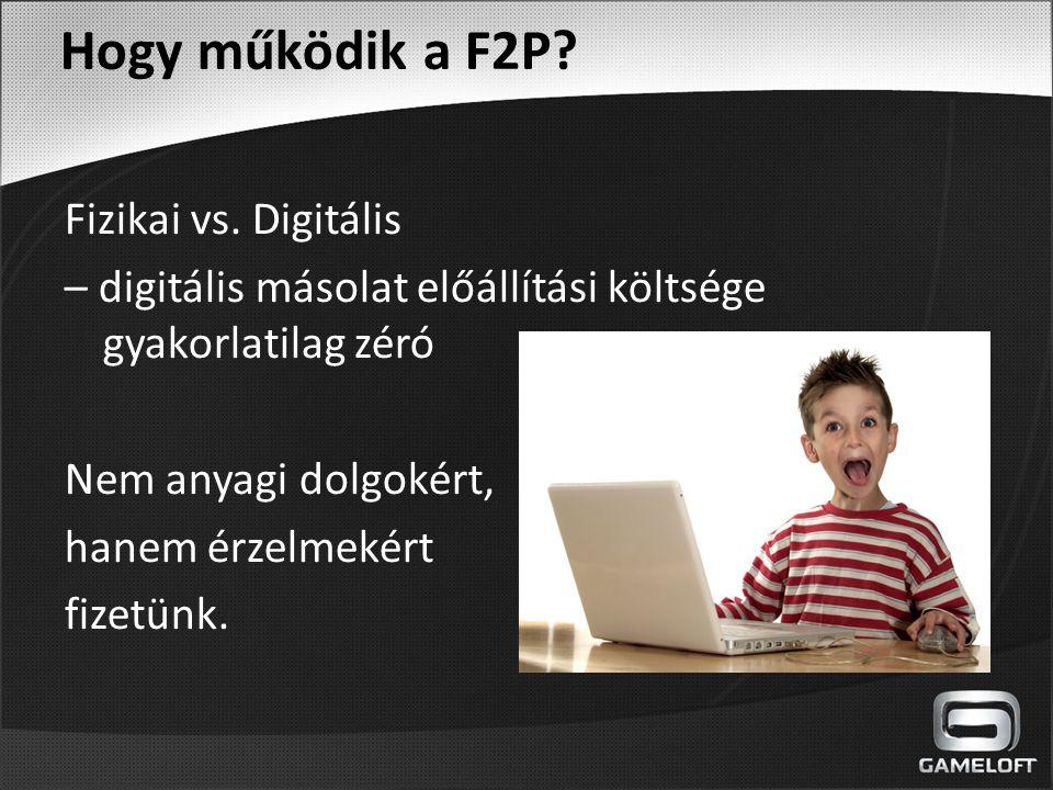 Fizikai vs. Digitális – digitális másolat előállítási költsége gyakorlatilag zéró Nem anyagi dolgokért, hanem érzelmekért fizetünk. Hogy működik a F2P