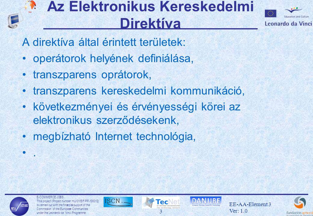 E-COMMERCE JOBS This project (Project number: HU/01/B/F/PP-136012) is carried out with the financial support of the Commssion of the European Communities under the Leonardo da Vinci Programme 4 EE-AA-Element 3 Ver: 1.0 Az Elektronikus Kereskedelmi Direktíva A következő területeket érintő szerződések elektronikusan nem köthetők meg: •szerződések, melyek fel- vagy átruháznak jogokat ingatlanokon (kivétel a bérlés) •családjogi vagy örökösödési területeket érintő szerződések •szerződések melyen bíróságok vagy egyéb hatóságok bevonását szükségeltetik •szerződések, melyek egyéb járulékos biztosítékot igényelnek