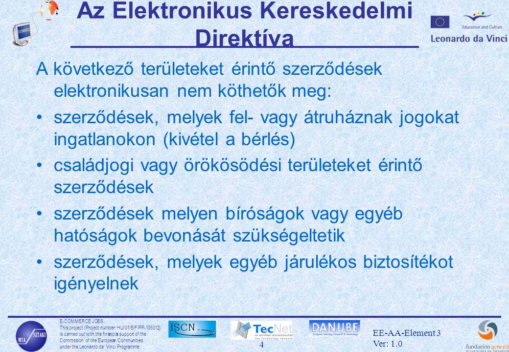 E-COMMERCE JOBS This project (Project number: HU/01/B/F/PP-136012) is carried out with the financial support of the Commssion of the European Communities under the Leonardo da Vinci Programme 25 EE-AA-Element 3 Ver: 1.0 SSL komponensek •SSL Handshake Protocol –a biztonsági protokollok és paraméterek egyeztetése a felek között –kulcscsere –szerver azonosítás és opcionálisan kliens azonosítás •SSL Record Protocol –tördelés –tömrítés –üzenethitelesítés és integritásvédelem –titkosítás •SSL Alert Protocol –hibaüzenetek •SSL Change Cipher Spec Protocol –ez az üzenet jelzi a Handshake végét