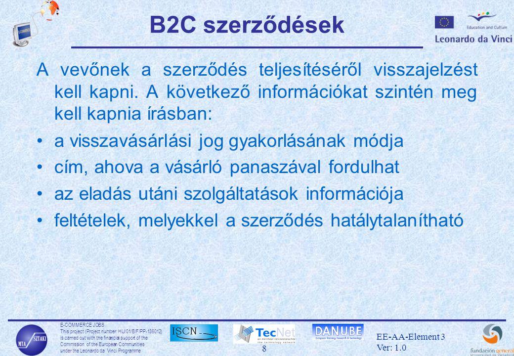 E-COMMERCE JOBS This project (Project number: HU/01/B/F/PP-136012) is carried out with the financial support of the Commssion of the European Communities under the Leonardo da Vinci Programme 19 EE-AA-Element 3 Ver: 1.0 Fizetési rendszerek •Hitelkártyák: –A legelterjettebb fizetési eszköz a weben.