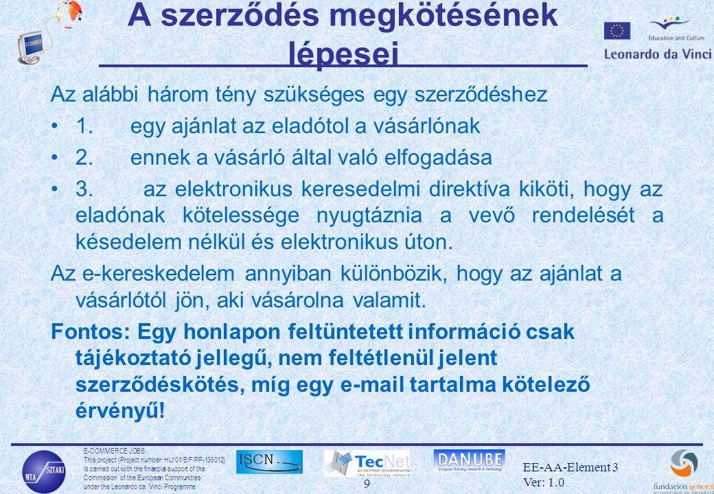 E-COMMERCE JOBS This project (Project number: HU/01/B/F/PP-136012) is carried out with the financial support of the Commssion of the European Communities under the Leonardo da Vinci Programme 40 EE-AA-Element 3 Ver: 1.0 Host alapú azonosítás •a hoszt-tól függ, hely alapú azonosítás •opcionális módszer •a kliens küld egy üzenetet, amit a hoszt titkos kulcsával ír alá •a szerver ellenőrzi –a nyilvános kulcs tényleg ahhoz a host-hoz tartozik-e –korrekt-e az aláírás