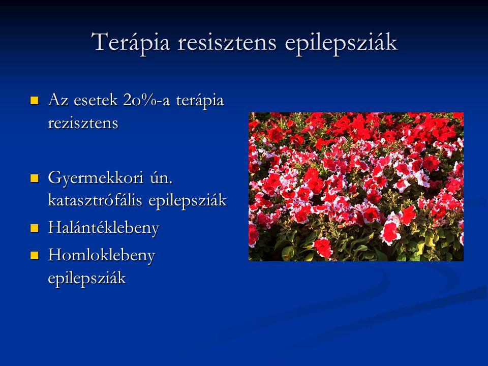 Terápia resisztens epilepsziák  Az esetek 2o%-a terápia rezisztens  Gyermekkori ún. katasztrófális epilepsziák  Halántéklebeny  Homloklebeny epile