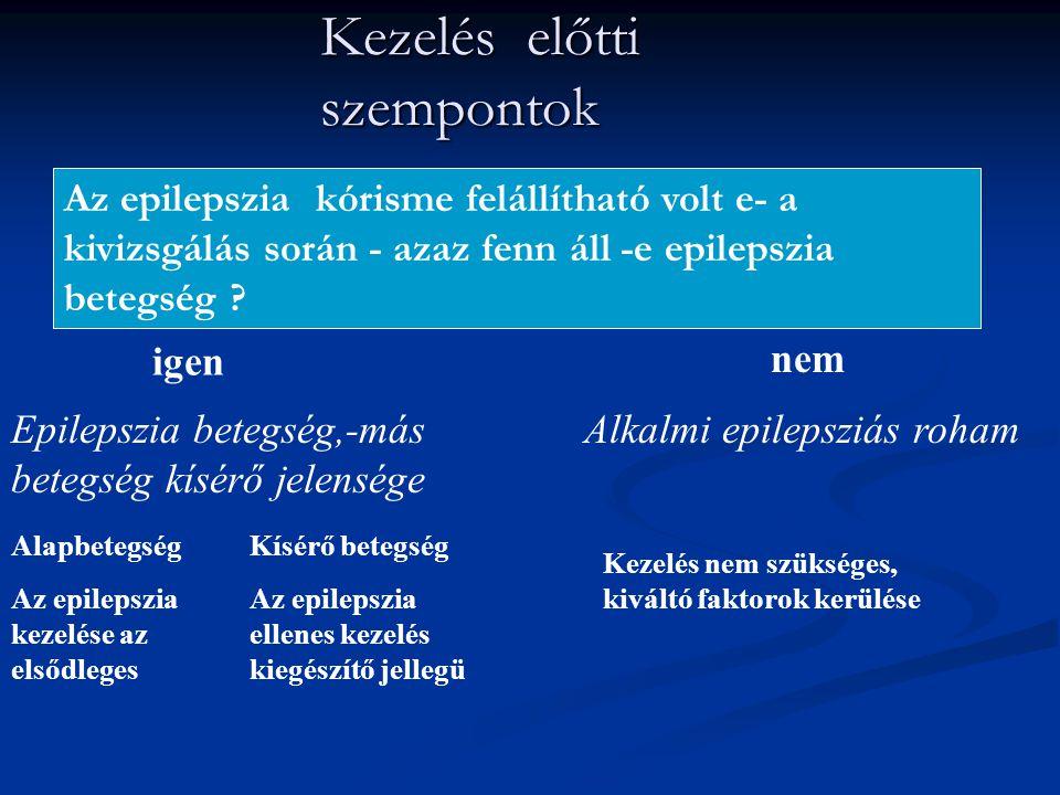 Kezelés előtti szempontok Az epilepszia kórisme felállítható volt e- a kivizsgálás során - azaz fenn áll -e epilepszia betegség ? igen Epilepszia bete