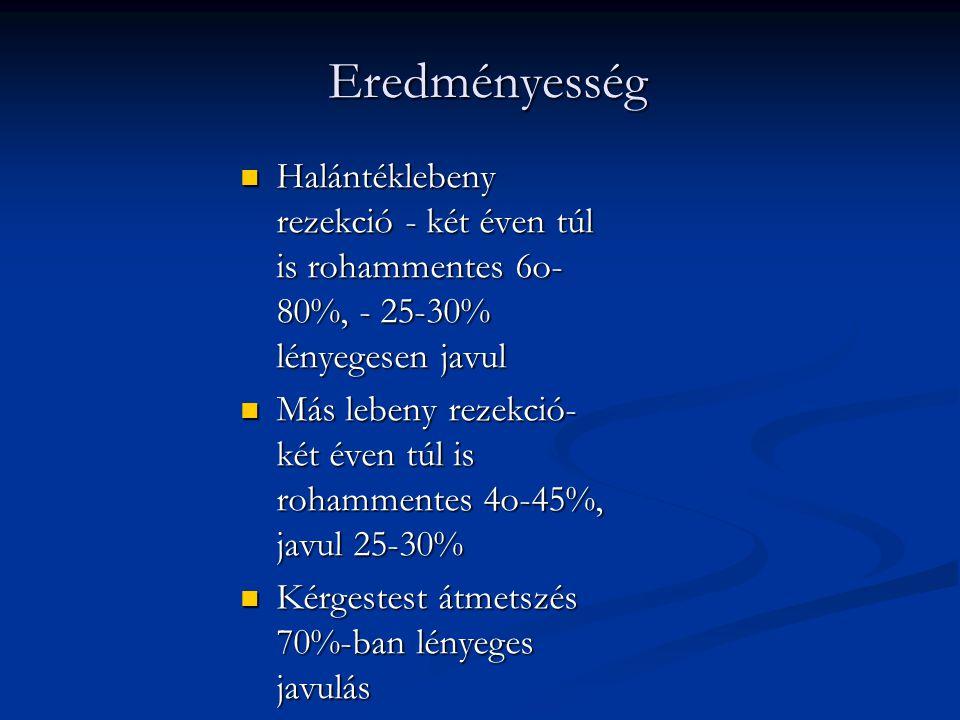 Eredményesség  Halántéklebeny rezekció - két éven túl is rohammentes 6o- 80%, - 25-30% lényegesen javul  Más lebeny rezekció- két éven túl is rohamm