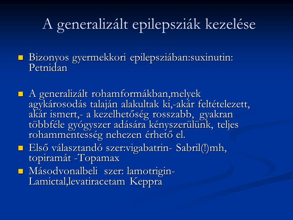  Bizonyos gyermekkori epilepsziában:suxinutin: Petnidan  A generalizált rohamformákban,melyek agykárosodás talaján alakultak ki,-akár feltételezett,