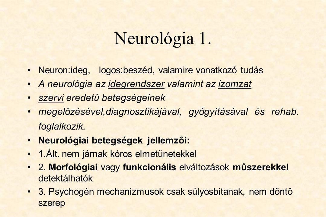 Neurológia 1. •Neuron:ideg, logos:beszéd, valamire vonatkozó tudás •A neurológia az idegrendszer valamint az izomzat •szervi eredetû betegségeinek •me