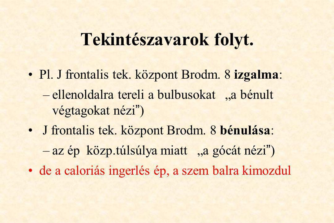 """Tekintészavarok folyt. •Pl. J frontalis tek. központ Brodm. 8 izgalma: –ellenoldalra tereli a bulbusokat """"a bénult végtagokat nézi"""") • J frontalis tek"""