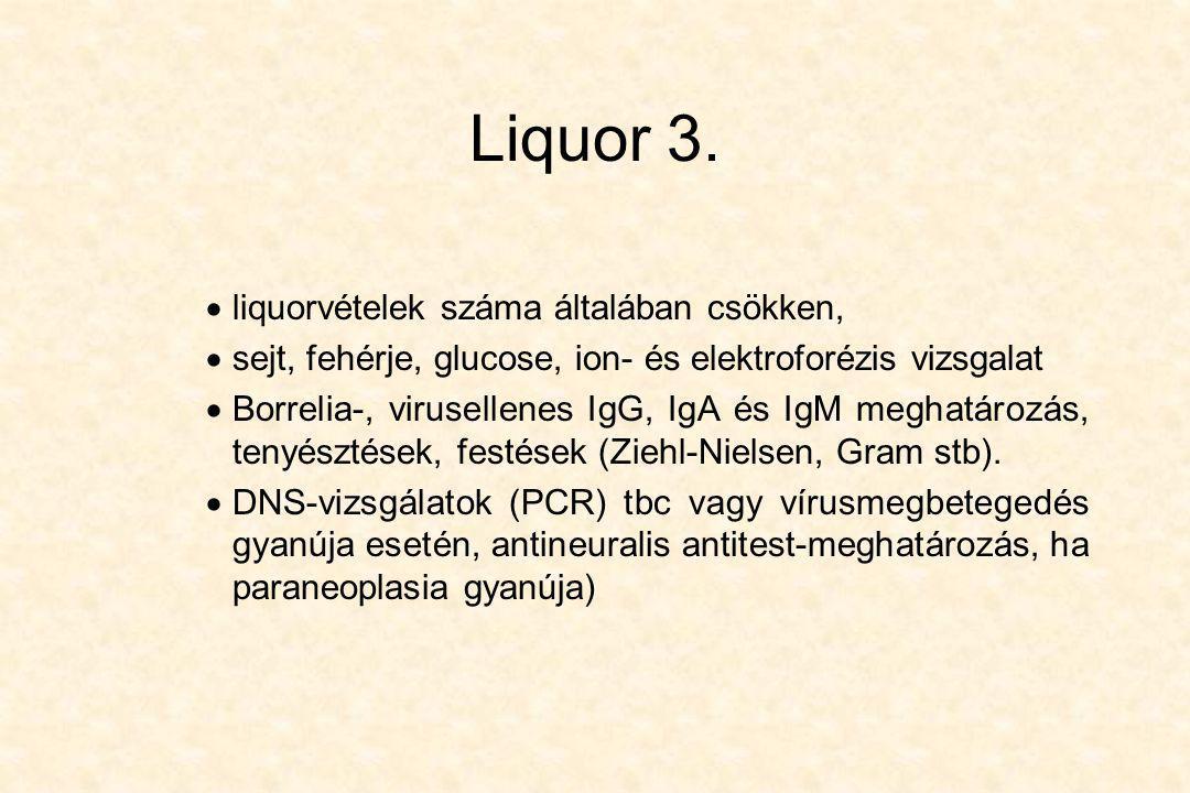 Liquor 3.  liquorvételek száma általában csökken,  sejt, fehérje, glucose, ion- és elektroforézis vizsgalat  Borrelia-, virusellenes IgG, IgA és Ig