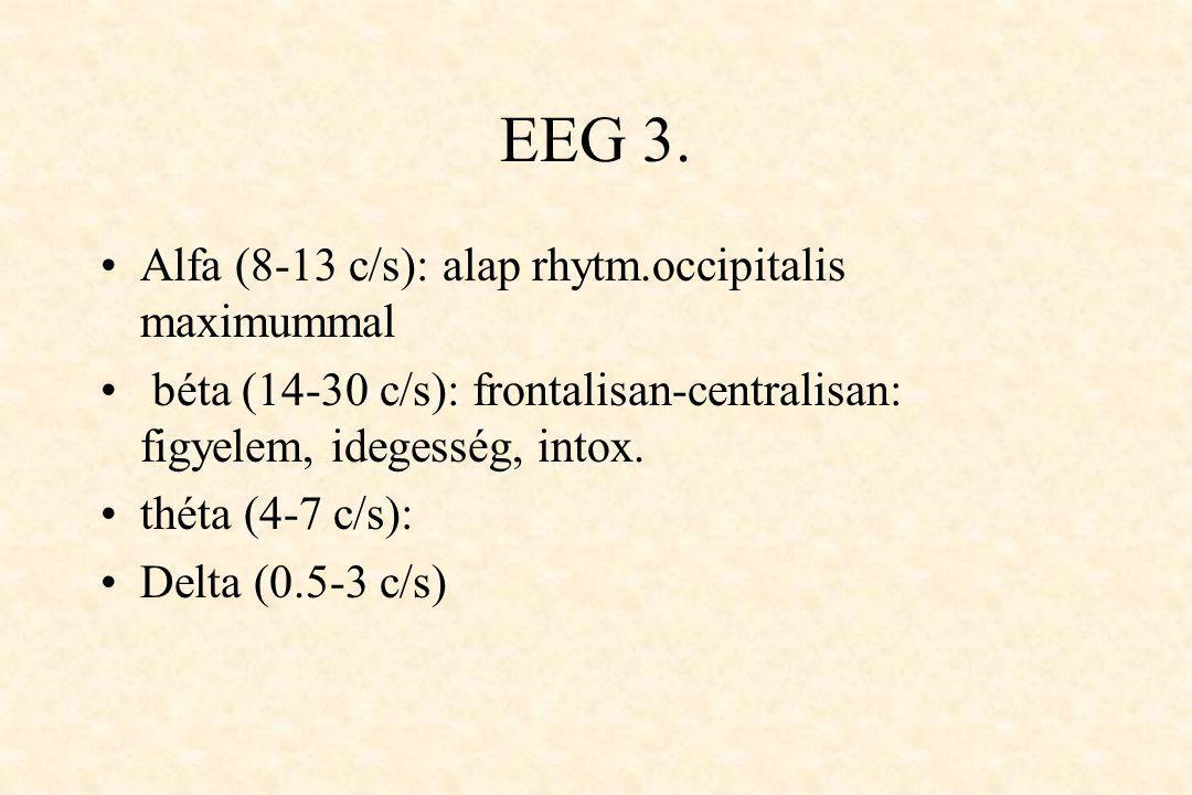 EEG 3. •Alfa (8-13 c/s): alap rhytm.occipitalis maximummal • béta (14-30 c/s): frontalisan-centralisan: figyelem, idegesség, intox. •théta (4-7 c/s):