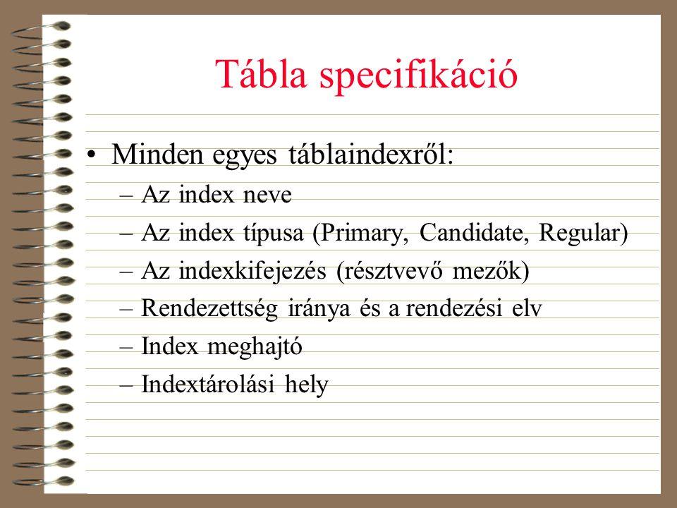 Tábla specifikáció •Minden egyes táblaindexről: –Az index neve –Az index típusa (Primary, Candidate, Regular) –Az indexkifejezés (résztvevő mezők) –Re