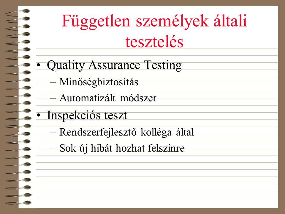Független személyek általi tesztelés •Quality Assurance Testing –Minőségbiztosítás –Automatizált módszer •Inspekciós teszt –Rendszerfejlesztő kolléga