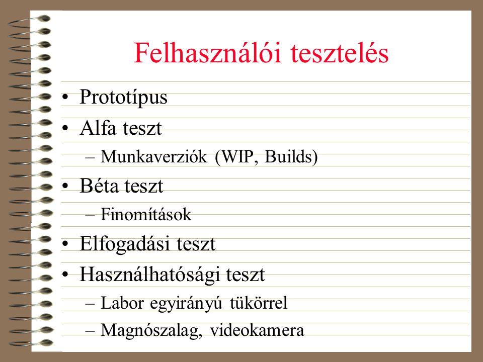 Felhasználói tesztelés •Prototípus •Alfa teszt –Munkaverziók (WIP, Builds) •Béta teszt –Finomítások •Elfogadási teszt •Használhatósági teszt –Labor eg