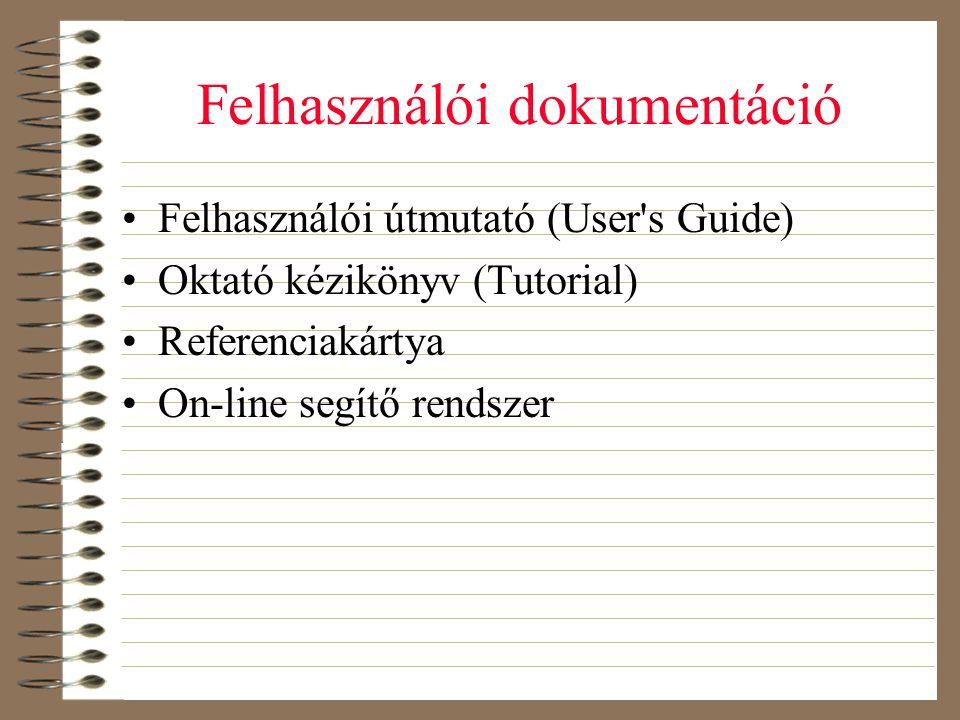 Felhasználói dokumentáció •Felhasználói útmutató (User's Guide) •Oktató kézikönyv (Tutorial) •Referenciakártya •On-line segítő rendszer