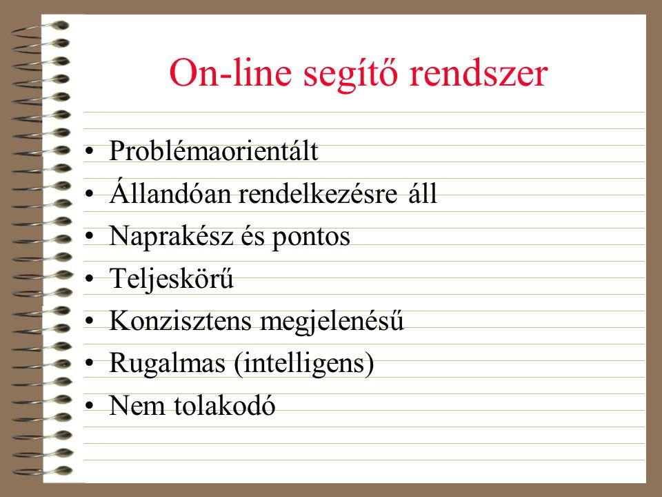On-line segítő rendszer •Problémaorientált •Állandóan rendelkezésre áll •Naprakész és pontos •Teljeskörű •Konzisztens megjelenésű •Rugalmas (intellige