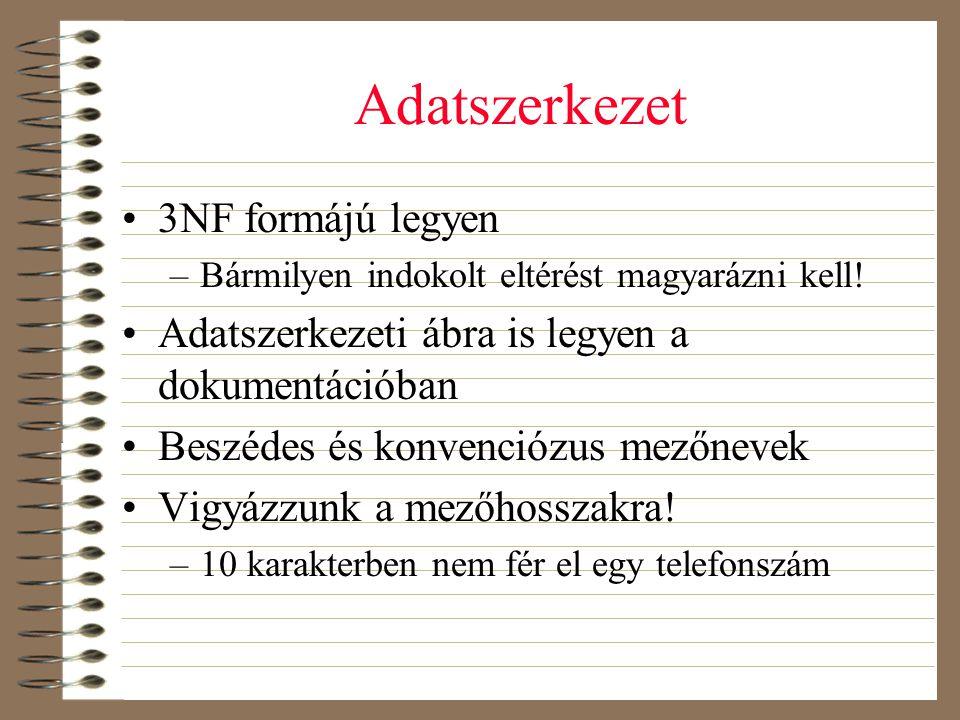 Adatszerkezet •3NF formájú legyen –Bármilyen indokolt eltérést magyarázni kell! •Adatszerkezeti ábra is legyen a dokumentációban •Beszédes és konvenci