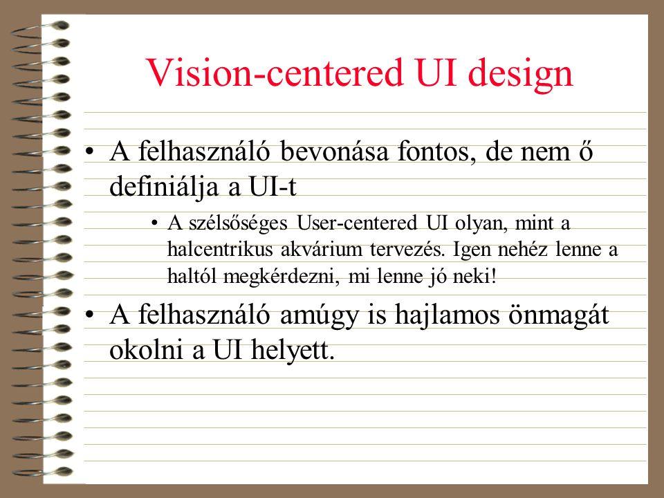 Vision-centered UI design •A felhasználó bevonása fontos, de nem ő definiálja a UI-t •A szélsőséges User-centered UI olyan, mint a halcentrikus akvári