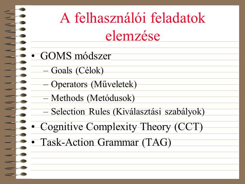 A felhasználói feladatok elemzése •GOMS módszer –Goals (Célok) –Operators (Műveletek) –Methods (Metódusok) –Selection Rules (Kiválasztási szabályok) •
