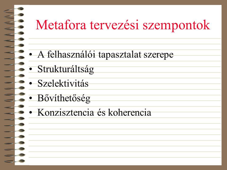 Metafora tervezési szempontok •A felhasználói tapasztalat szerepe •Strukturáltság •Szelektivitás •Bővíthetőség •Konzisztencia és koherencia