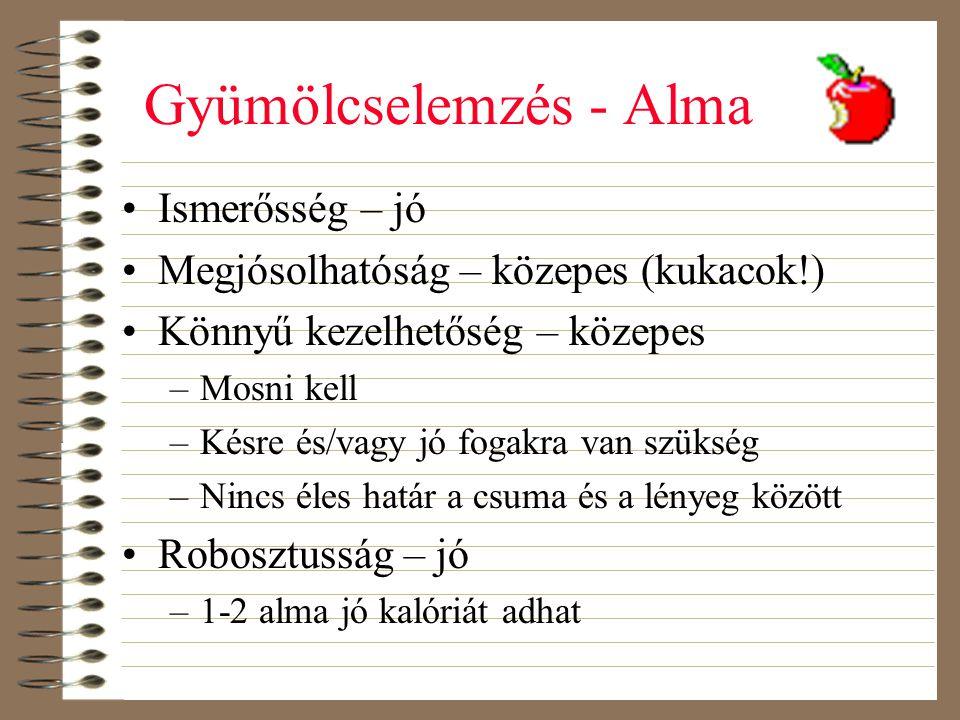 Gyümölcselemzés - Alma •Ismerősség – jó •Megjósolhatóság – közepes (kukacok!) •Könnyű kezelhetőség – közepes –Mosni kell –Késre és/vagy jó fogakra van