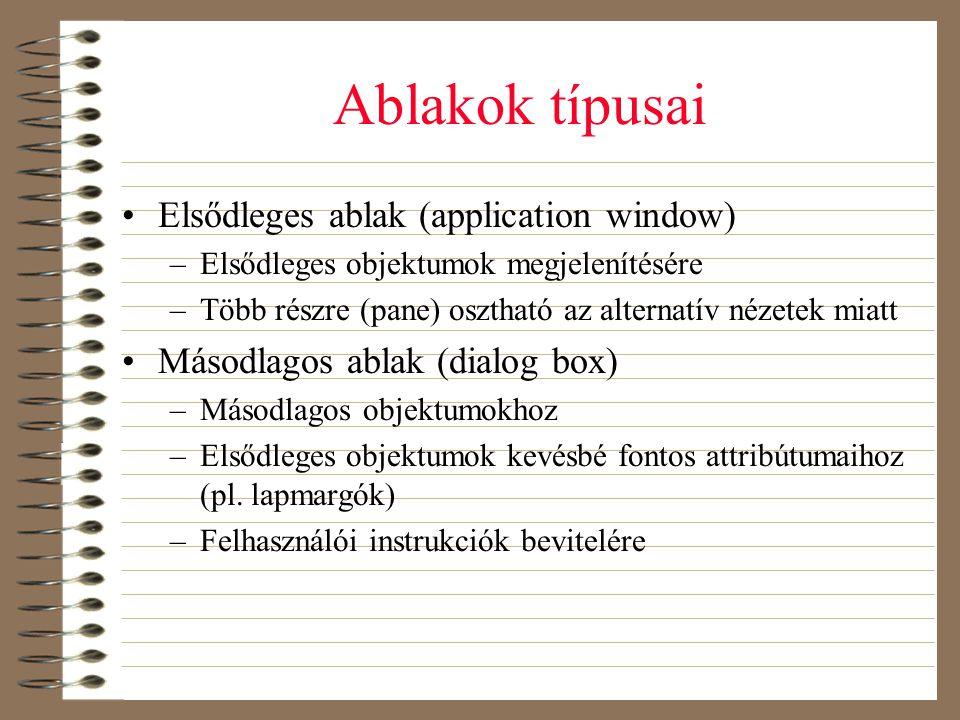 Ablakok típusai •Elsődleges ablak (application window) –Elsődleges objektumok megjelenítésére –Több részre (pane) osztható az alternatív nézetek miatt