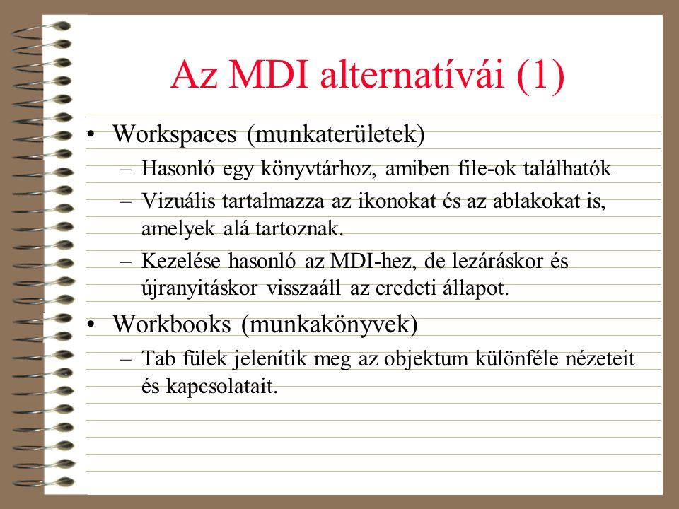 Az MDI alternatívái (1) •Workspaces (munkaterületek) –Hasonló egy könyvtárhoz, amiben file-ok találhatók –Vizuális tartalmazza az ikonokat és az ablak