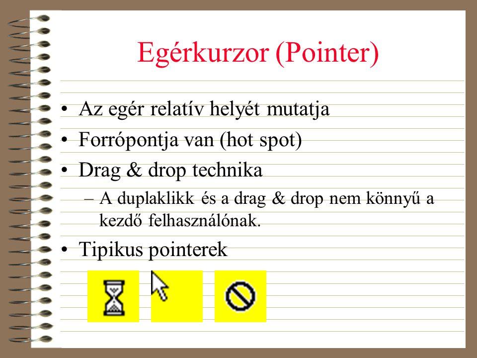 Egérkurzor (Pointer) •Az egér relatív helyét mutatja •Forrópontja van (hot spot) •Drag & drop technika –A duplaklikk és a drag & drop nem könnyű a kez