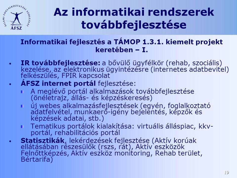 19 Az informatikai rendszerek továbbfejlesztése • IR továbbfejlesztése: a bővülő ügyfélkör (rehab, szociális) kezelése, az elektronikus ügyintézésre (internetes adatbevitel) felkészülés, FPIR kapcsolat • ÁFSZ internet portál fejlesztése: A meglévő portál alkalmazások továbbfejlesztése (önéletrajz, állás- és képzéskeresés) új webes alkalmazásfejlesztések (egyén, foglalkoztató adatfelvétel, munkaerő-igény bejelentés, képzők és képzések adatai, stb.) Tematikus portálok kialakítása: virtuális álláspiac, kkv- portál, rehabilitációs portál • Statisztikák, lekérdezések fejlesztése (Aktív korúak ellátásában részesülők (rszs, rát), Aktív eszközök Felnőttképzés, Aktív eszköz monitoring, Rehab terület, Bértarifa) Informatikai fejlesztés a TÁMOP 1.3.1.