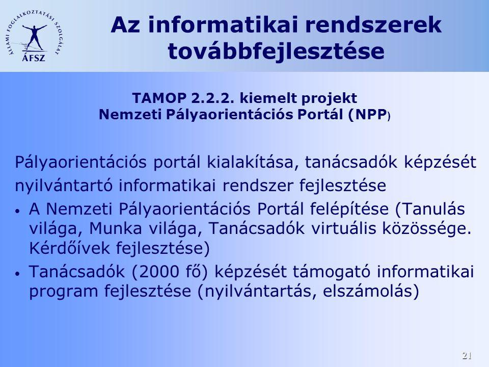 21 Pályaorientációs portál kialakítása, tanácsadók képzését nyilvántartó informatikai rendszer fejlesztése • A Nemzeti Pályaorientációs Portál felépít