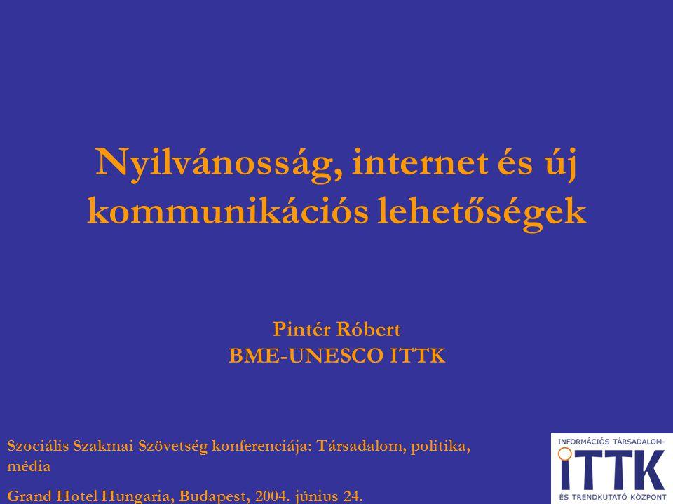 Nyilvánosság, internet és új kommunikációs lehetőségek Pintér Róbert BME-UNESCO ITTK Szociális Szakmai Szövetség konferenciája: Társadalom, politika,