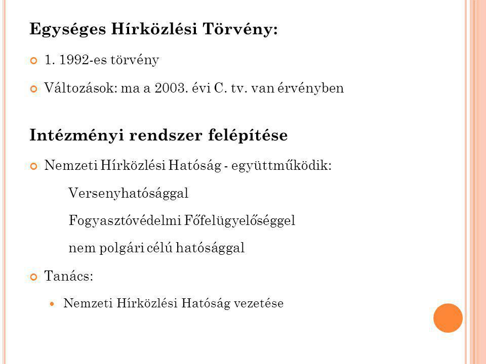 Egységes Hírközlési Törvény: 1. 1992-es törvény Változások: ma a 2003.