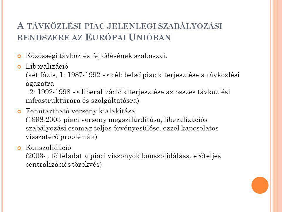 A TÁVKÖZLÉSI PIAC JELENLEGI SZABÁLYOZÁSI RENDSZERE AZ E URÓPAI U NIÓBAN Közösségi távközlés fejlődésének szakaszai: Liberalizáció (két fázis, 1: 1987-1992 -> cél: belső piac kiterjesztése a távközlési ágazatra 2: 1992-1998 -> liberalizáció kiterjesztése az összes távközlési infrastruktúrára és szolgáltatásra) Fenntartható verseny kialakítása (1998-2003 piaci verseny megszilárdítása, liberalizációs szabályozási csomag teljes érvényesülése, ezzel kapcsolatos visszatérő problémák) Konszolidáció (2003-, fő feladat a piaci viszonyok konszolidálása, erőteljes centralizációs törekvés)