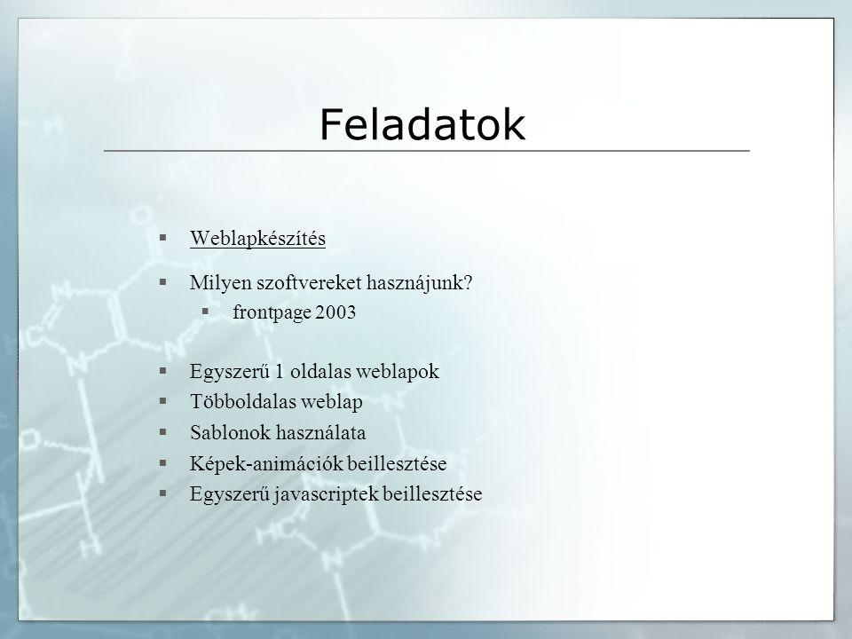 Feladatok  Weblapkészítés  Milyen szoftvereket hasznájunk.