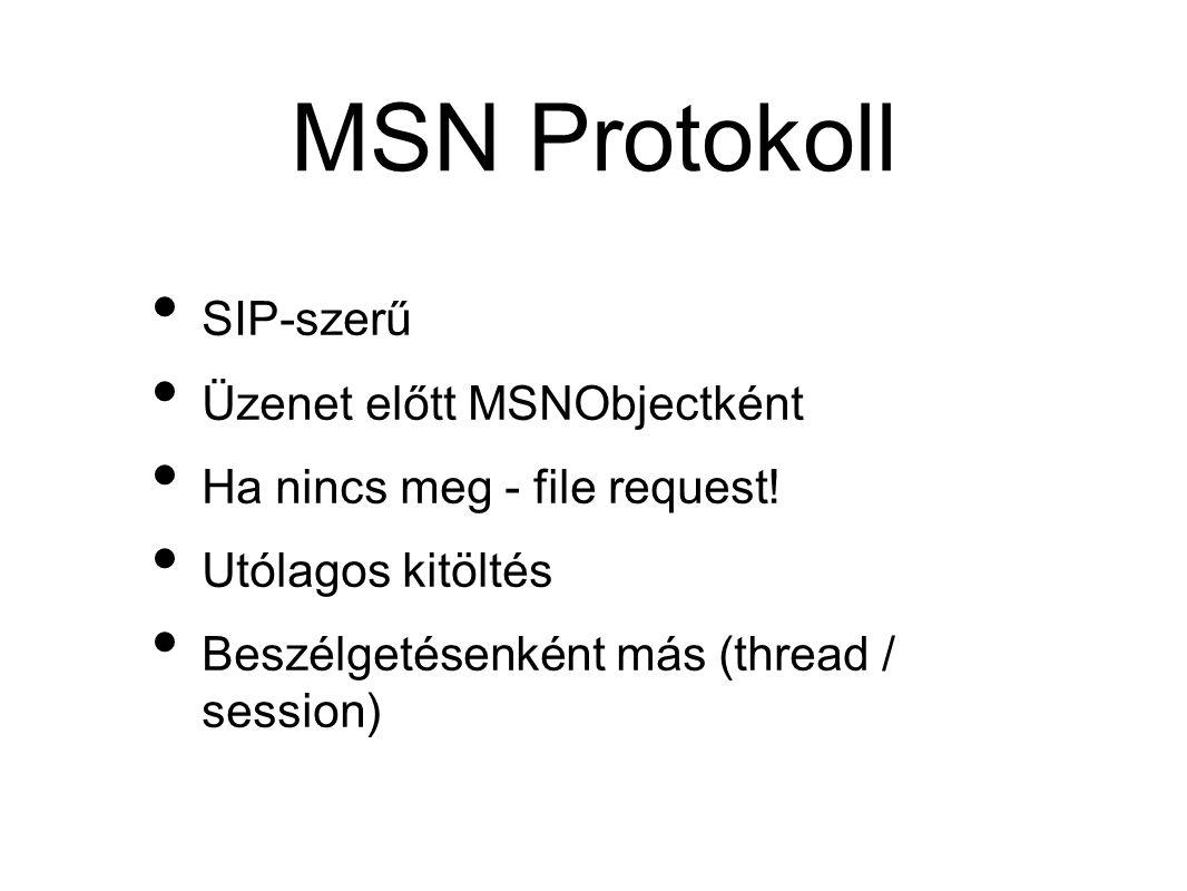 MSN Protokoll • SIP-szerű • Üzenet előtt MSNObjectként • Ha nincs meg - file request.