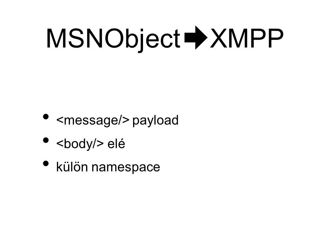 MSNObject XMPP • payload • elé • külön namespace