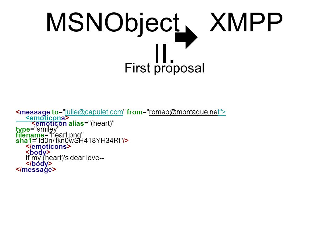 MSNObject XMPP II. First proposal julie@capulet.comt