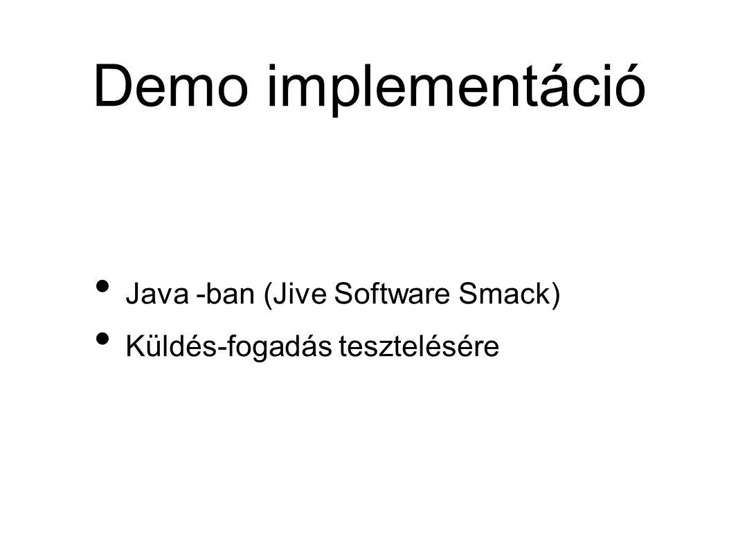 Demo implementáció • Java -ban (Jive Software Smack) • Küldés-fogadás tesztelésére