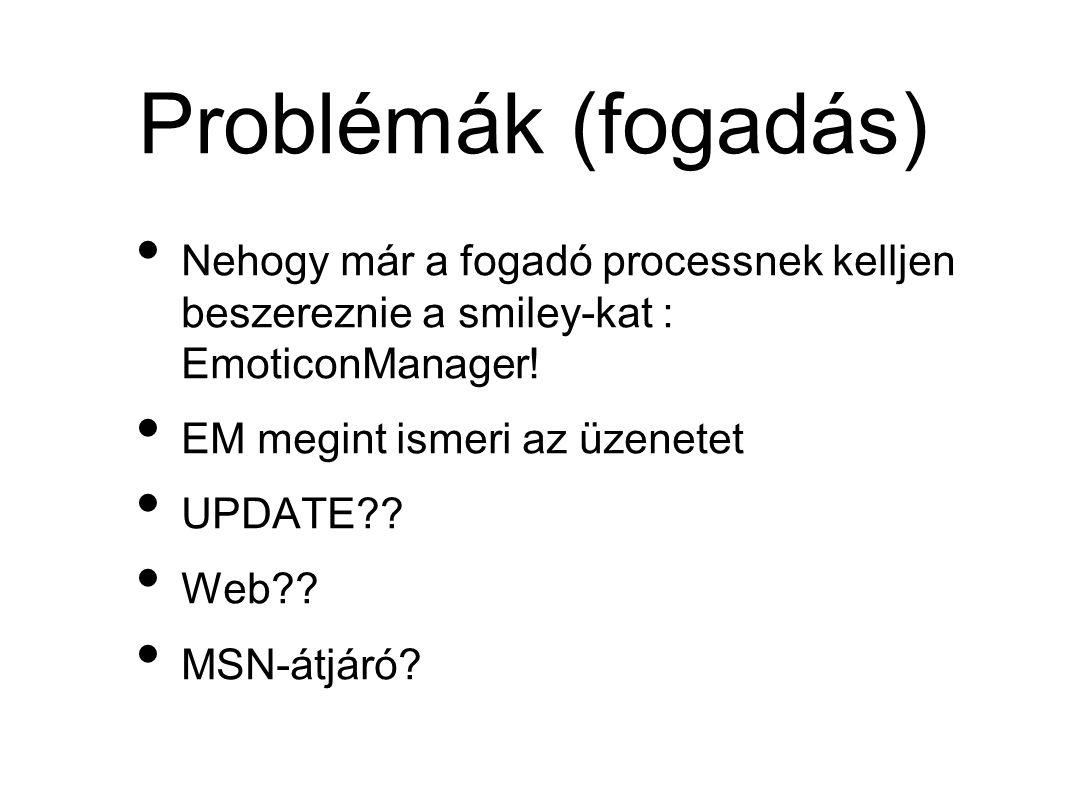 Problémák (fogadás) • Nehogy már a fogadó processnek kelljen beszereznie a smiley-kat : EmoticonManager.